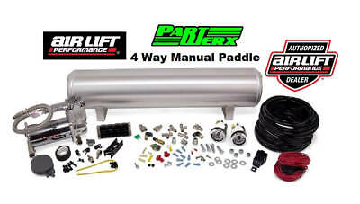 "Air Lift Air Ride 4 Way Manual Control Kit 1/4"" Air Lines, 4G Tank + Compressor"