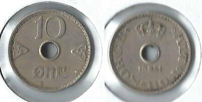 1951 Norway 10 ore coin