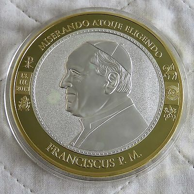 2013 POPE FRANCIS 70mm LARGE SILVER PLATED GOLD SPOT PROOF MEDAL