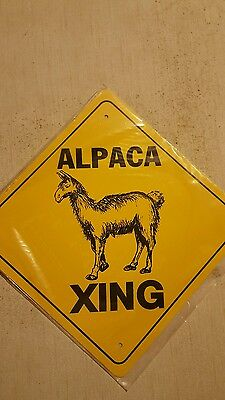 "alpaca crossing  sign 12"" x 12"" . Zoo lamas goats"