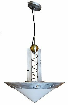 Mid Century Modern Brushed Aluminum Mouth Blown Glass Memphis Style Chandelier