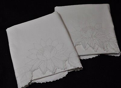 Vintage  PAIR WHITE ON WHITE ALL COTTON SUNFLOWER/FLOWER EMBROIDERED PILLOWCASES