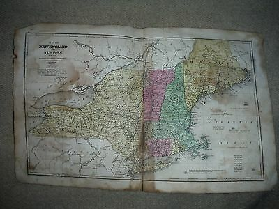 Antique 1844 Hand Colored Map of New England & New York