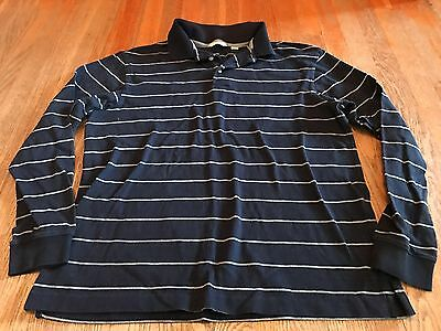Men's Turnbury Blue/Gray Striped Long Sleeve Polo Shirt Size M