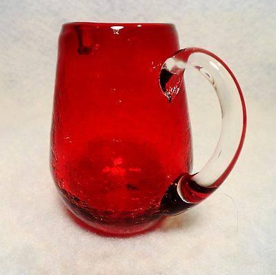 Beautiful Ruby Red deep crackle glass Hand Blown Petite Pitcher clear handle