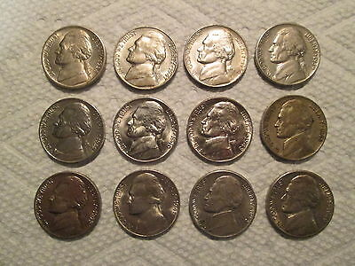 12 early Jefferson Nickels-some nice-1938 d, s, 1939 p, s, 1940 + more
