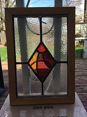 "Antique Vintage Leaded Stained Glass with Wood Frame 13"" x 18"""