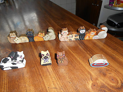 Lot Of - 6 -Wood Kitty Cat Figures