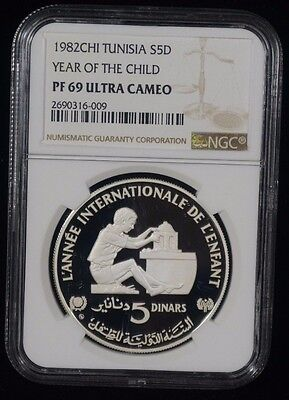 1982CHI Tunisia Year of The Child PF 69 Ultra Cameo Silver NGC Coin