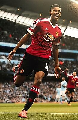 Marcus Rashford Hand Signed 12x8 Photo Manchester United Autograph COA Proof