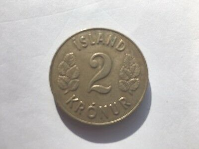 1946 Republic of ICELAND 2 KRONUR Low Mintage