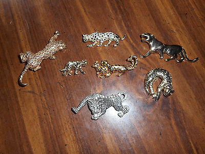 Vintage Lot Of - 7 - Wild Cats, Pins, Brooch