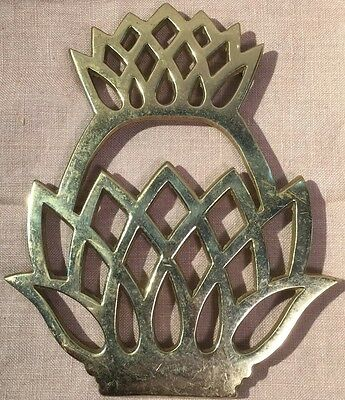 Vintage Virginia Metalcrafters Brass Pineapple Trivet 1976 Retro MidCentury GUC!