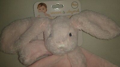 New Blankets & Beyond Baby Security Lovey Blanket Nunu Pink Bunny Layette easter