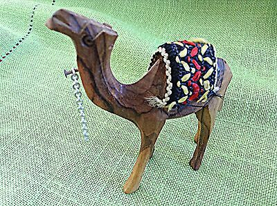 4 Inch Camel Hand Carved Olive Wood With Blanket
