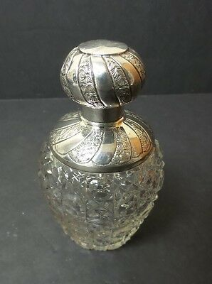 ANTIQUE CUT GLASS DRESSER JAR, ENGLISH STERLING SILVER SHOULDER & LID, c. 1908