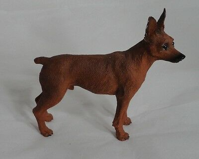 Brown Dog Figurine Detailed Doberman Pinscher Resin 4""