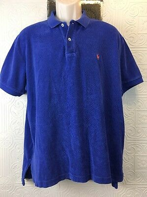 POLO By Ralph Lauren Size Large Men's Blue Terry Cloth Polo Shirt