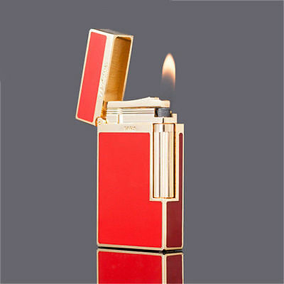 New S.T Memorial Bright Sound lighter Red+Gas Refill adapter+Friction wheel