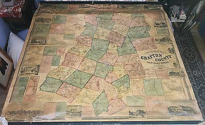 Grafton County New Hampshire Wall Map 1860 Walling Large Cloth