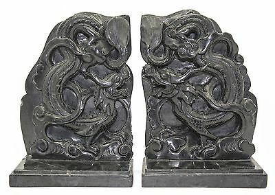 Vtg Old Pair Carved Soapstone Stone Dragon Gothic Sculpture Figurine Bookends