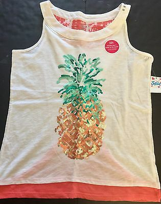 Justice Girls Summer Sequins Pineapple Tank Shirt, Size 20, NWT