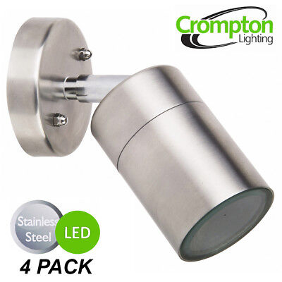 4 x LED Stainless Steel Outdoor Exterior Adjustable Wall Lights - 12W 240V GU10
