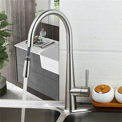 Brushed Nickel Kitchen Sink Faucet Single Handle Spout Sink Mixer Tap