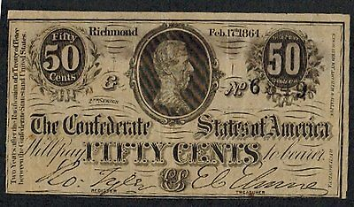 Feb 17 1864 CONFEDERATE STATES 50 CENT FRACTIONAL CURRENCY BILL NOTE Richmond