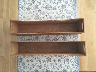 card catalog drawer/compartment lot of 2 wooden