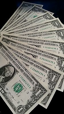 1 REAL Uncirculated Consecutive $1 2013 Bill, UNC FRN Banknote RARE LUCKY DOLLAR
