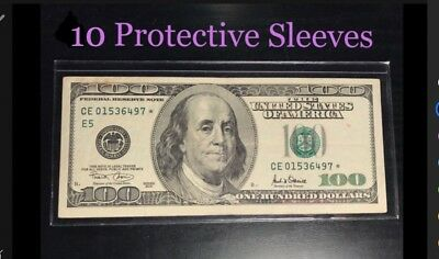10 SEMI-RIGID Vinyl Money Protector Sleeves US Dollar Bill CURRENCY HOLDERS BCW