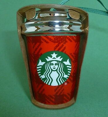 Starbucks Red Plaid Ornament Holiday Christmas 2016 Ceramic To Go Cup New