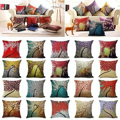 Retro 3D Flower Cotton Linen Throw Pillow Case Sofa Cushion Cover Home Decor