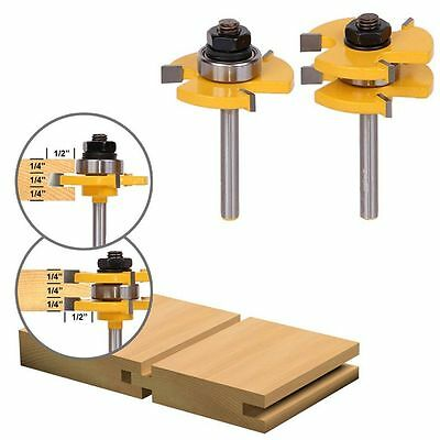 "Adjustable Tongue Groove Router Bits Set 1/4"" Shank Woodworking Tool 2Pcs"