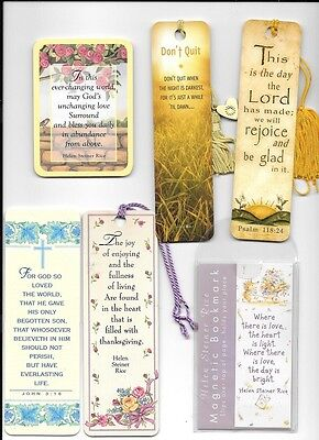 SIX (6) HELEN STEINER RICE & RELIGiOUS LAMINATED BOOKMARKS NEW FREE SHIP