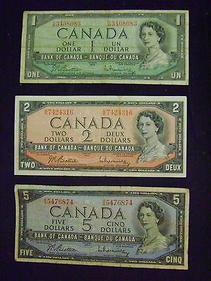 Lot of 3. BANK OF CANADA Bank Notes. $1, $2 & $5 Vintage Canadian Currency.
