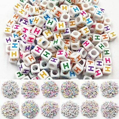 100 Pcs Mixed Acrylic Cube 26 Letters/Alphabet Beads Craft Jewelry Making  6mm