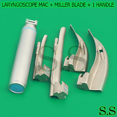 New Premium Grade Laryngoscope Mac + Miller Blade + 1 Handle Ent Anesthesia Set