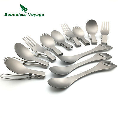 Titanium Tableware Lightweight Folding Spork Spoon Fork Ultralight Cutlery Set