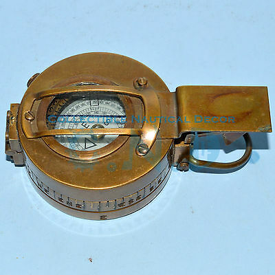 Antique Brass British Prismatic Pocket Compass Military Marching Compass