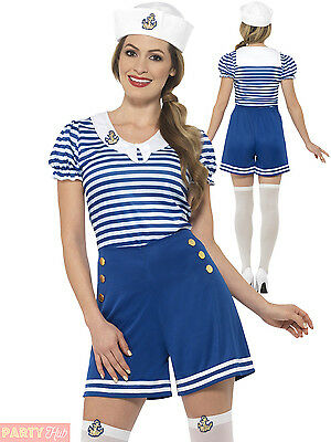 Ladies Sailor Costume Adults Nautical Navy Fancy Dress Womens Hen Party Outfit