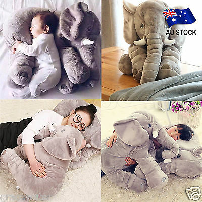 AU STOCK Long Nose Elephant Doll Pillow Soft Plush Stuffed Baby Bed Toys CQ0077