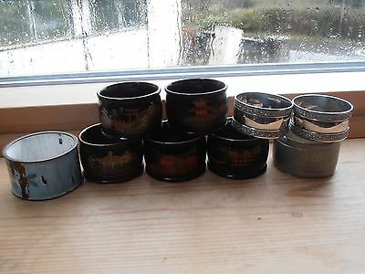 Vintage lot of 9 napkin rings - 5 x lacquer, 2 silver plated + 2