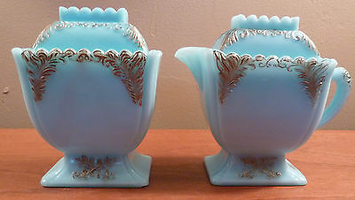 Antique Westmoreland blue milk glass sugar & creamer with embossed gold accents
