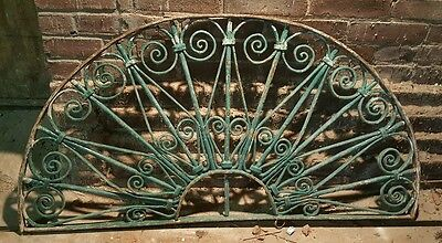Antique Cast Wrought Iron Arched 1/2 moon Window Guard Panel Grate