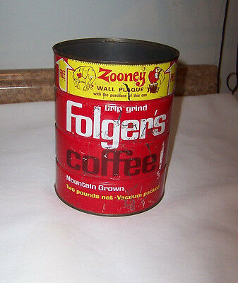 Vintage Folger's Two Pound Coffee Can Well Used
