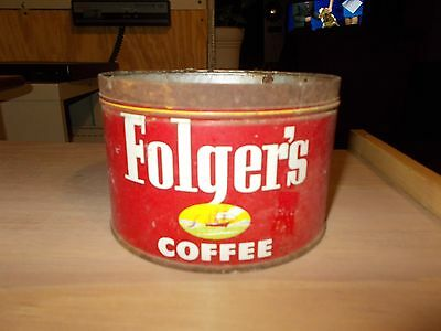 Vintage Folgers with ship 1 Pound Metal Coffee Can Tin