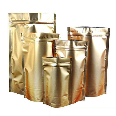 Gold Aluminum Foil Stand Up Package Bags Mylar Zip Lock Food Pouch Resealable