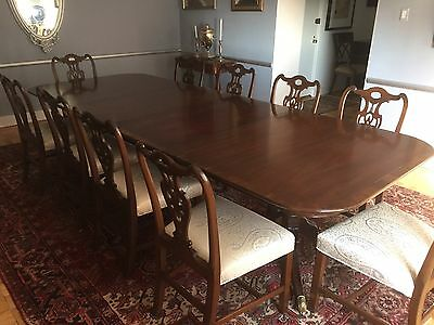 Mahogany banquet table with TEN reupholstered and repaired matching chairs.